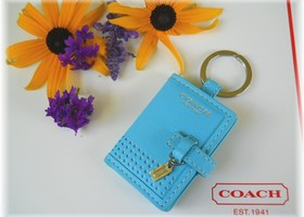 Coach F64525 Perforted Leather Keychain