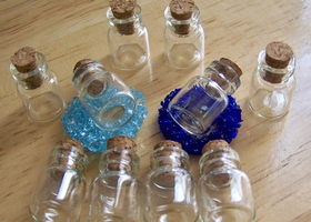 Lot of 10 Tiny Little Corked Glass Bottles