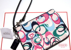 Authentic Coach Signature Ikat Print Small Wristlet