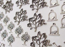 40 Silver Charms and Toggles Tree Bird Hears