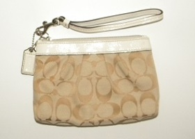 Coach Khaki Signature Pleated Wristlet