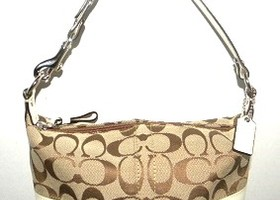 Coach Khaki Signature Stripe Top Handle Pouch