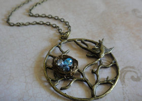 Tree of Life Necklace with Sparrow and Bird's Nest