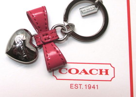 Authentic Coach Bow Heart Charm Key Fob