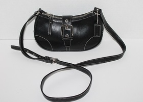 Coach Legacy Black Leather Mini Buckle Cross Body 9354