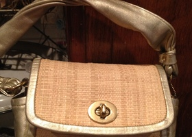 Coach Metallic Gold Parker Straw Top Bag 42475