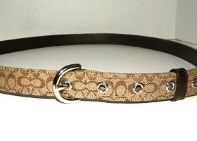 Coach Brown Jacquard Signature Skinny Belt Size Large