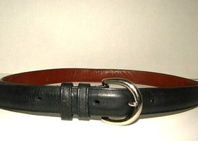 Coach Black Leather Belt with Silver Buckle Size Small