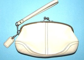 Coach Winter White Soho Framed Kiss Lock Wristlet