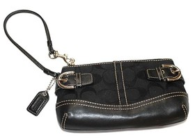 Coach Soho Black Signature Capacity Wristlet
