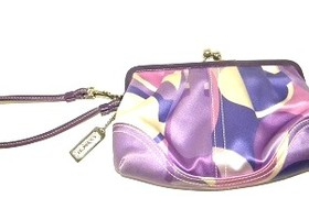 Coach Lilac Scarf Print Framed Wristlet with Kiss Lock
