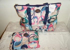 New Coach Ikat 2 pc Travel Tote & pouch