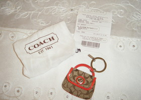 New Coach Park Signature Handbag Key fob