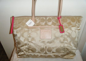 New Coach Legacy Signature Nylon Tote
