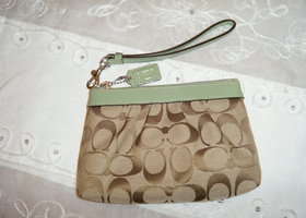 Coach Signature Pleated Wristlet