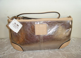 New Coach Metallic Leather Large Wristlet