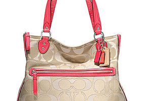 NWT Coach Poppy Signature Metallic Outline Hallie Tote