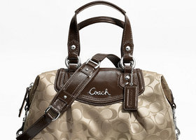 NWT Coach Ashley Signature Satchel-Khaki/Mahogany-19242