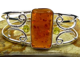 Pretty Amber,Citrine Cuff Bangle Bracelet