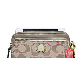 NWT Coach Poppy Signature Sateen Double Zip Wristlet