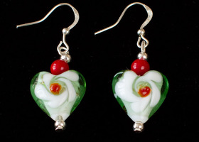 Lampwork Heart and Red Coral Silver Plated Earrings