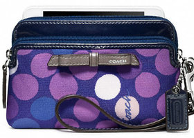 Coach Poppy Watercolor Dot Double Zip Wristlet