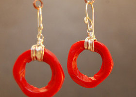Moglam Red Coral Earrings
