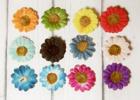 40 plus bonus multi-colored handmade two-layers flowers