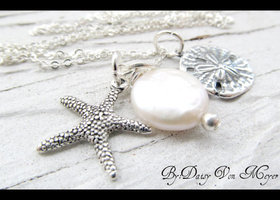 Necklace - Sterling Silver - Starfish - Sand Dollar - Coin Pearl