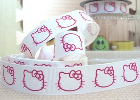 5 Yards of 7/8 in Hello Kitty Grosgrain Ribbon