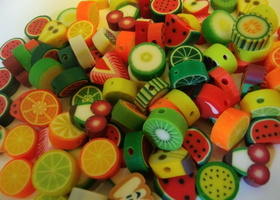 100 Mixed Fimo Polymer Clay Fruit, Charm, Spacer Beads