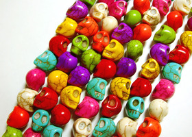 60 Multi-Dyed Howlite Skull Beads (bonus up to 100)