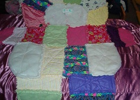 Kitty, dog, or, bear patchwork rag quilts.