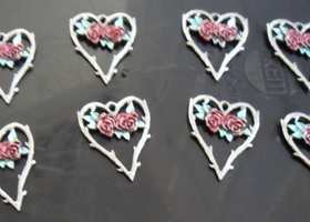12 Heart With Rose & Thorn Charm