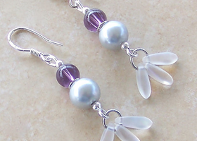 Sterling Silver Amethyst, Pearl & Moonstone Earrings