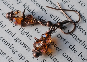Crystal Copper Drop Swarovski Crystal Earrings
