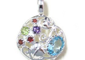 Sterling Silver Pendant With Genuine Gemstone