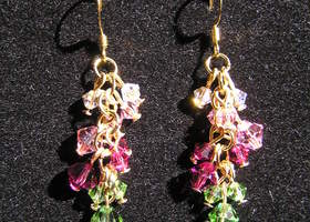 Swarvoski Crystal  Earrrings pinks and greens