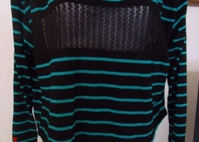 Black & turquoise striped long sleeve sweater;