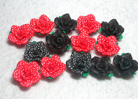 Polka Dot Polymer Flowers 25mm and 14 pieces!