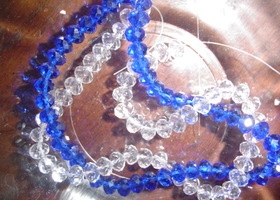 96Pcs Blue & Clear Crystal 6x4mm Rondelle beads