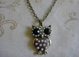 Pink Pearl and Rhinestone Owl Necklace