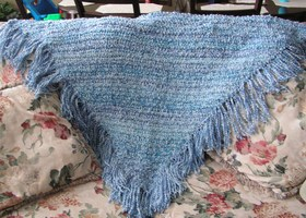 Handcrocheted Blue Triangle Shawl