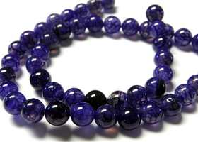 8mm Purple Dragon Vein Round Agate Beads
