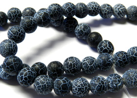 6mm Black Dream Fire Dragon Vein Agate Beads