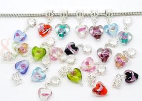 10 Pandora Style Foil Lampwork Glass Charm Dangle Beads