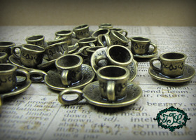 10 Bronze Teacup Pendants/Charms