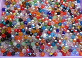 500 Crystal 4mm Beads Mixed Colors