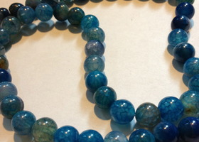 "Dark Blue Dragon Veins Agate Round Beads 8mm 15""Strand"