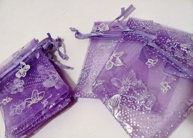 Set of 40 Organza bags Purple with Silver Butterflies